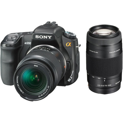Sony Alpha DSLR-A200 SLR Digital Camera with Sony 18-70mm Lens & 75-300mm Lens