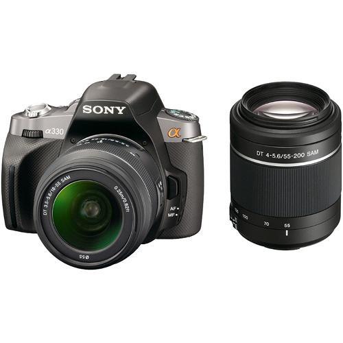 Sony Alpha A330 Digital SLR with 18-55mm & 55-200mm Lens (Black)