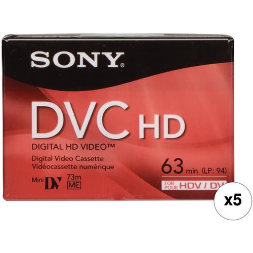 Sony DVM-63HD 63 Minute Mini DV HD Videocassette (Pack of 5)
