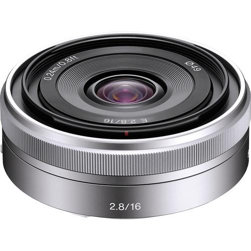 Sony E-Mount SEL16F28 16mm f/2.8 Wide-Angle Alpha E-Mount Lens (Silver)