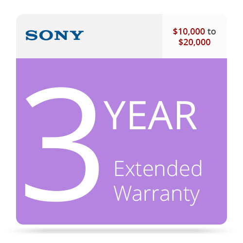 Sony SPSDVR20RSEW3 3-Year Extended Warranty for Professional DVRs  $10,000-20,000