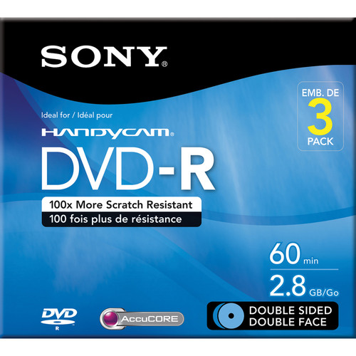 Sony 2.8 GB Double Sided DVD-R w/ Hangtab (3-Pack)
