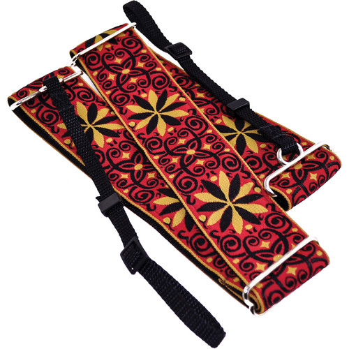 "Souldier Dresden Star 2"" Camera Strap (12 Point Flower, Filigree in Mustard and Black on Red Background)"