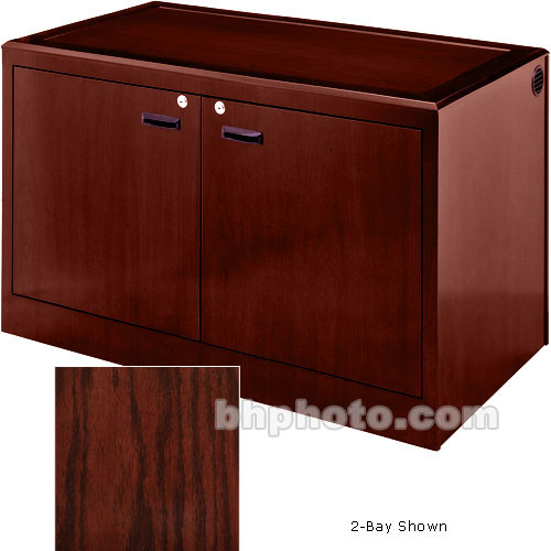 Sound-Craft Systems 3-Bay Equipment Credenza - Veneer/Dark Cherry Oak