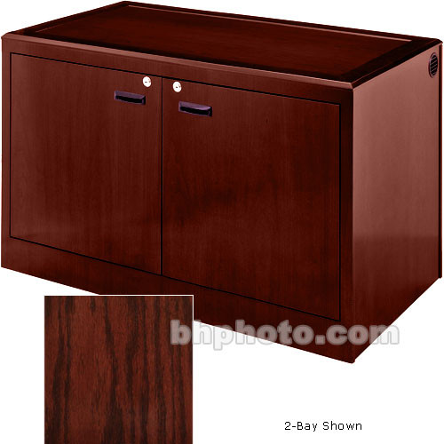 Sound-Craft Systems 4-Bay Equipment Credenza - Veneer/Dark Cherry Oak