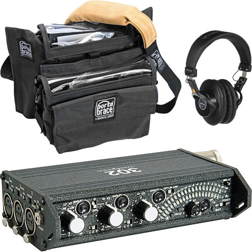 Sound Devices 302 Portable 3-Channel Field Mixer and Porta Brace MXC-302B Case Kit