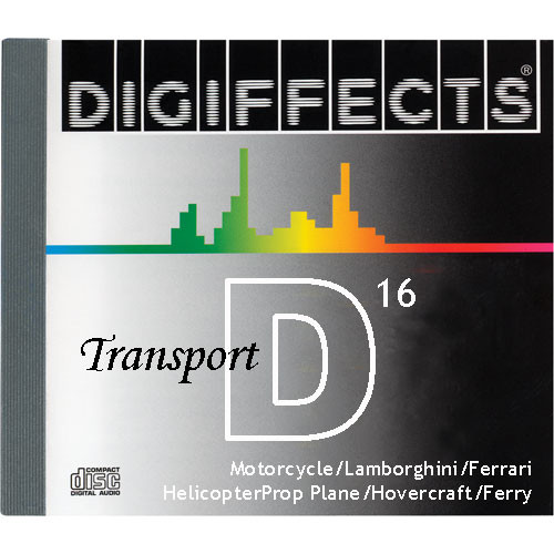 Sound Ideas Sample CD: Digiffects Transport SFX - Motorcycle, Lamborghini, Ferrari, Helicopter, Prop Plane, Hovercraft & Ferry (Disc D16)