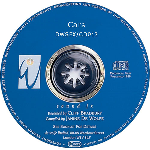Sound Ideas Sampled CD: De Wolfe Library - Cars (Disc DW12)