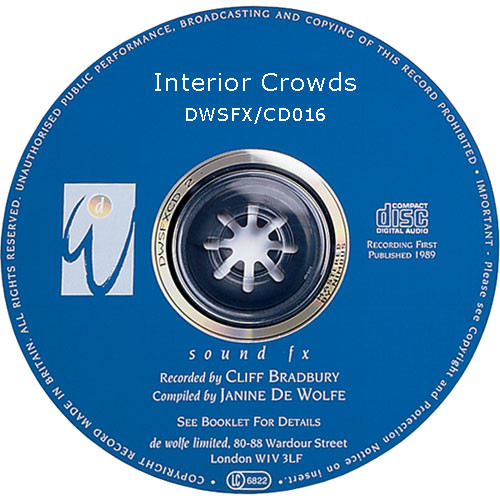 Sound Ideas Sampled CD: De Wolfe Library - Interior Crowds (Disc DW16)