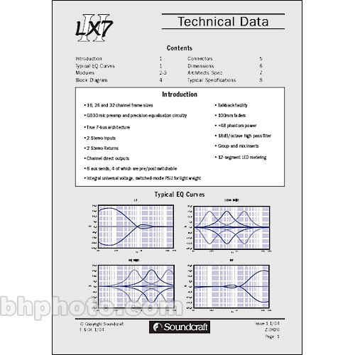 Soundcraft Technical Manual for the LX7 II