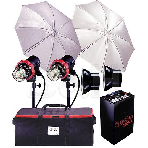 Speedotron 2405 CX 2 CC Head Air Travel System - Includes: 2405CX - 2400 W/S Power Pack, 2-202VF-CC Flash Heads, Reflectors, Light Stands, Umbrellas, Sync Cord,  Case
