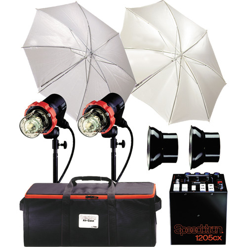 Speedotron 1205CX 2 CC Head Air Travel Kit - Includes: 1205CX - 1200 W/S Power Pack, 2-202VF Color Corrected Flash Heads, Umbrellas, Sync Cord, Stands, 3-Section Air Case