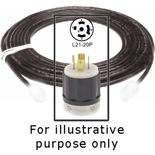 Strand Lighting 10G Extension Cable with L21-20P Twist-Lock Plug for IGBT Dimmer - 8'