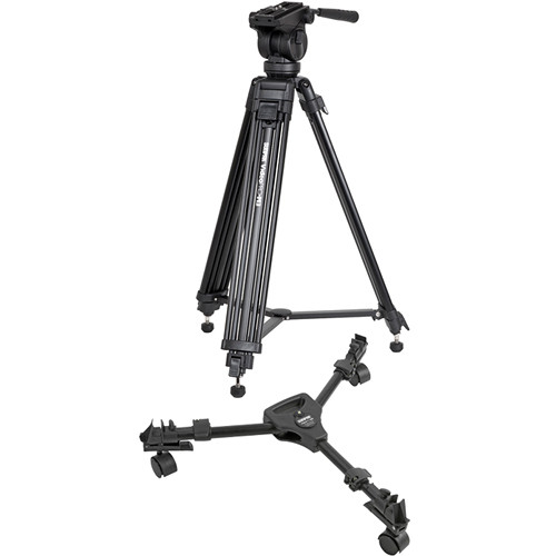 Sunpak Video Pro-M3 Tripod With Fluid Head (Black) with Video Pro-M3 Dolly Kit