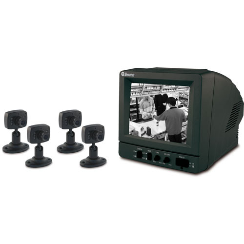 """Swann SW244-SK4 DIY Security Kit with 4 B&W Security Cameras and 5.5"""" B/W CRT Monitor"""