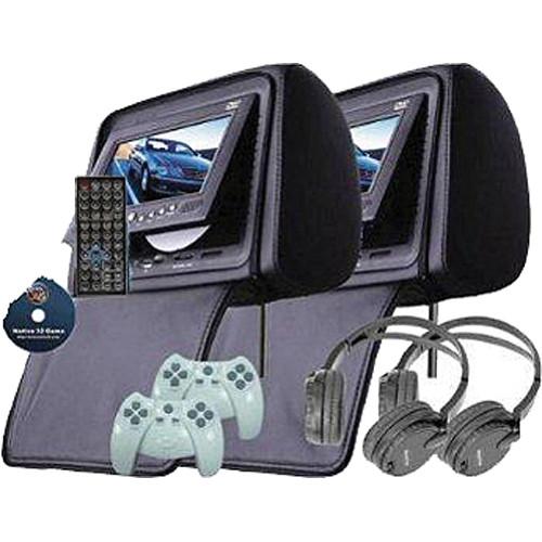 """Swari HRTV7B 7"""" Headrest DVD Player Set (Black)"""