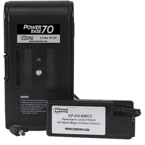 """Core SWX PowerBase 70 Battery for Blackmagic Cinema Camera (12"""" Cable)"""