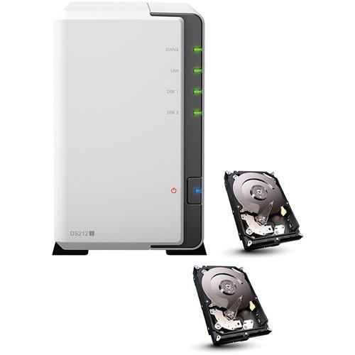 Synology DiskStation 4TB (7200rpm) DS212j 2-Bay NAS Server (2x 2TB Hard Drives)