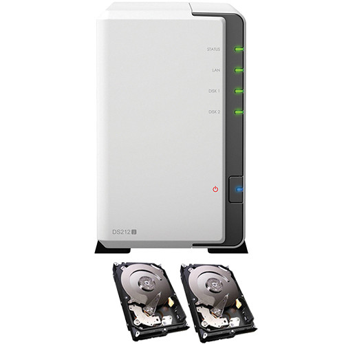 Synology DiskStation 6TB DS212j 2-Bay NAS Server (2x 3TB Hard Drives)
