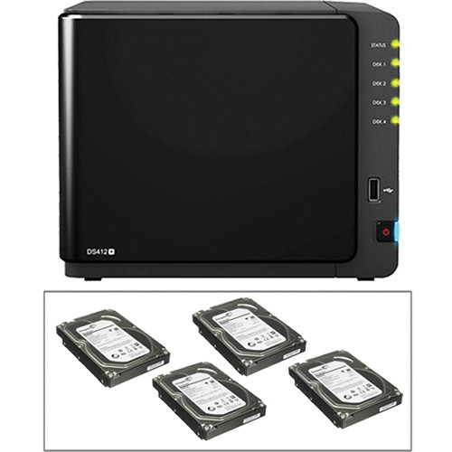 Synology 12 TB (4x3TB) Diskstation DS412+ 4-Bay All-in-1 NAS Server Kit
