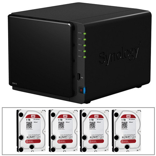 Synology 4TB (4x 1TB) Diskstation DS413 4-Bay NAS Server with Hard Drives