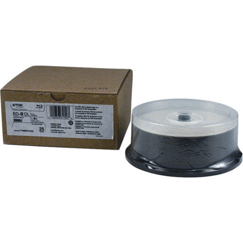 TDK BD-R DL 6x 50GB - White Inkjet Printable Surface (Spindle Pack of 25)