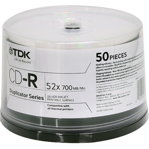 TDK Professional CD-R Silver Inkjet Printable Surface (Spindle Pack of 50)