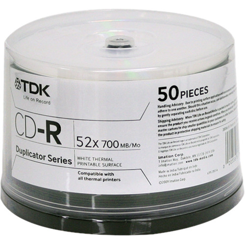 TDK Professional CD-R White Thermal Printable Surface (Spindle Pack of 50)