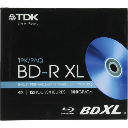 TDK BD-R XL 100GB Inkjet Printable Disc (With Jewel Case)