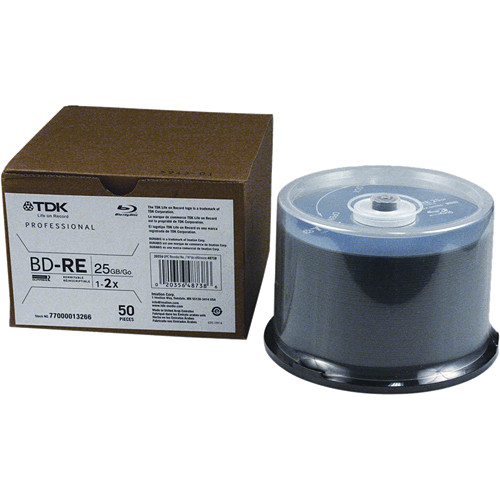 TDK BD-RE-25A Blu-ray Recordable Disc (50 Pack Spindle)