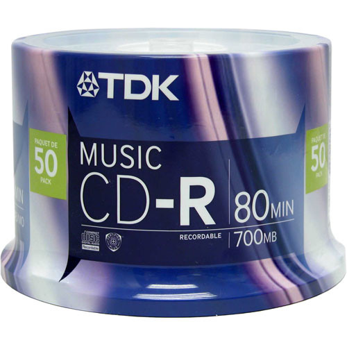 TDK CD-R 80 Minute Recordable Music Compact Disc (Spindle Pack of 50)