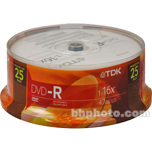 TDK DVD-R 4.7GB, 16X, Recordable Disc (Cake Box Spindle Pack of 25)