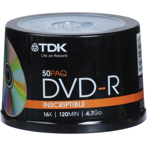 TDK DVD-R 4.7GB, 16X, Recordable Disc (Cake Box Spindle Pack of 50)