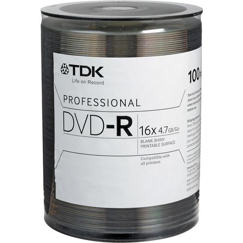 TDK DVD-R 4.7GB 16x, Shiny Silver Recordable Disc (Bulk Pack 100)