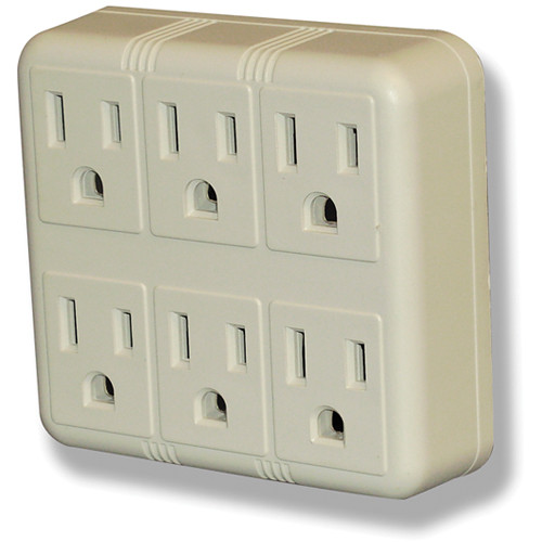 Power Play Products PP-16110T 6 - Outlet Wall Tap with Surge Protector