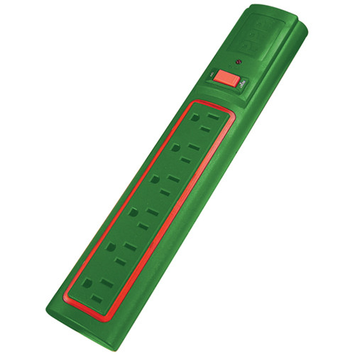 Power Play Products PP-56013D-RG 6 - Outlet Daylite Power Strip (Red Light, Green Case)