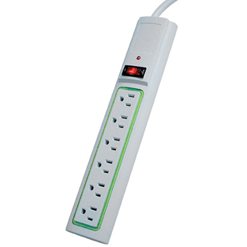 Power Play Products PP-56116D-GW 6 - Outlet 400 Joules 6 ft Daylite Surge Protector (White)