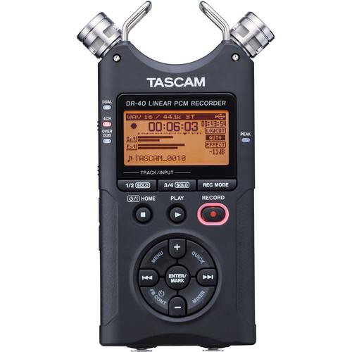 Tascam DR-40 4-Track Handheld Digital Audio Recorder (Black)