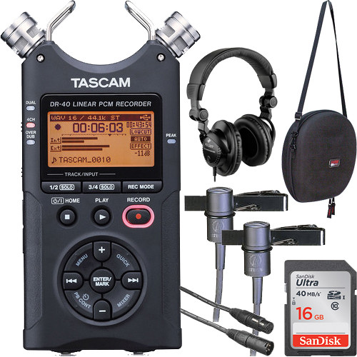 Tascam DR-40 One-on-One Interviewer Package (Black)