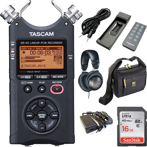 Tascam DR-40 Portable Recorder Value Pack (Black)