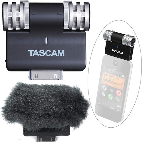 Tascam iM2 Stereo Microphone for Apple iOS Products & Topper (Black)