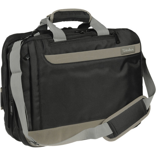 Taska Convertible Laptop Case (Black with Charcoal Stripes)