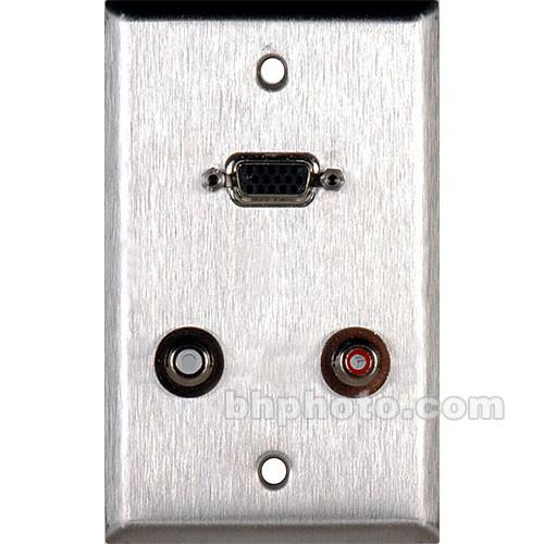 TecNec WPL-1155 1 Gang Wall Plate - HD-15 Barrel, 2 RCA Barrel, Silver