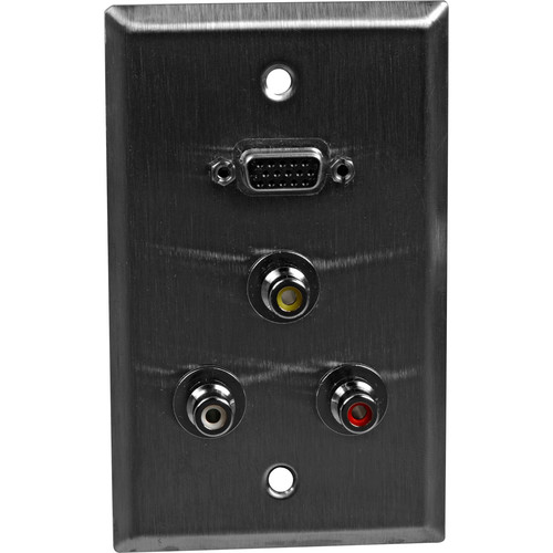TecNec WP-L1156 Wall Plate with 3 Female RCA Connectors and 1 Female HD-15 Connector