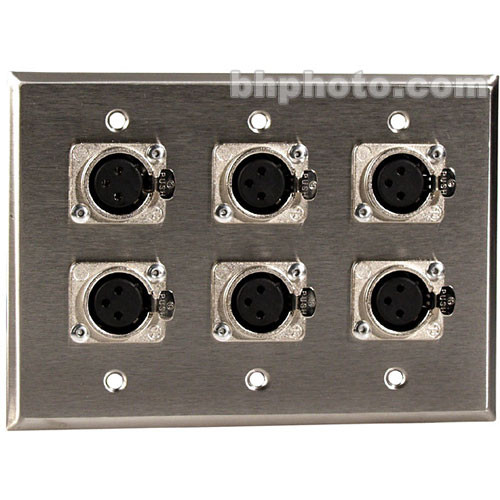 TecNec WPL-3104 Wall Plate with 6 3-Pin XLR Connectors