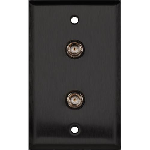 TecNec WPL-1102/B Black Stainless Steel Wall Plate with (2) 75 Ohm BNC Female Barrel Connectors