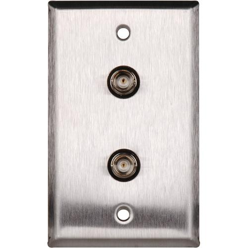 TecNec WPL-1102/R Stainless Steel Wall Plate with (2) 75 Ohm BNC Female Barrel Connectors (Recessed)