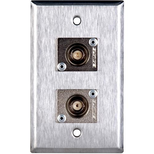 TecNec WPL-1104 Stainless Steel 1-Gang Wall Plate with 2 Female 75 Ohm BNC Canare BCJ-JRU Connectors