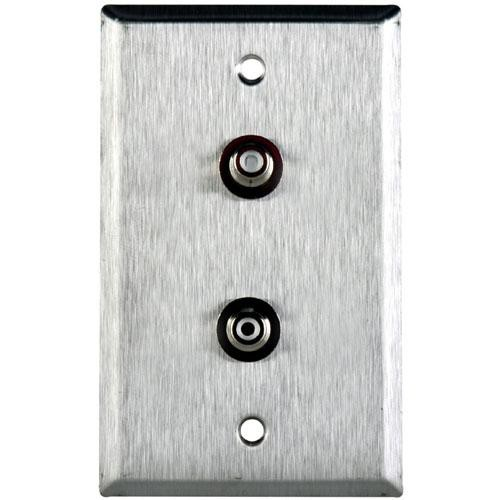 TecNec WPL-1106 Stainless Steel 1-Gang Wall Plate with 2 RCA Feed-Thru Barrel Connectors