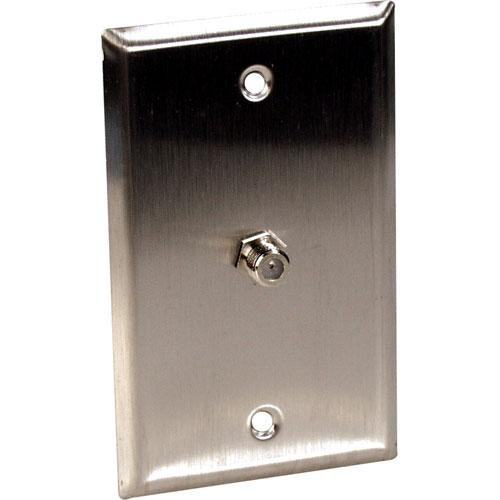 TecNec WPL-1107R Stainless Steel 1-Gang Wall Plate with Female Coax Barrel Connector (Recessed)